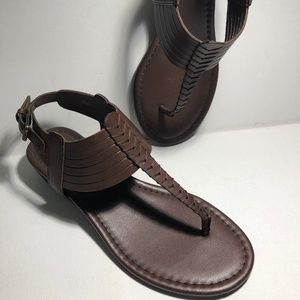 Franco Sarto Brown Leather Small Wedge Sndl-Sz 6.5